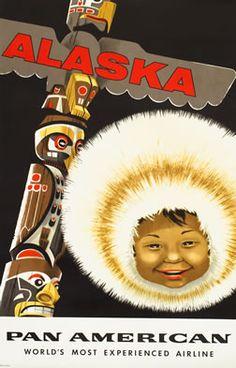 A. Amspoker vintage travel poster: Pan American - Alaska/Eskimo/Totem Pole