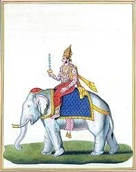 Indra on His Mount - Airavata the Elephant. Indra is the leader of the Devas or demi gods and the god of rain and thunderstorms