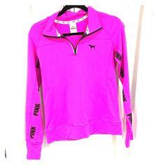 PINK Victoria Secret Half Zip Half zip sweater, pink, size Small PINK Victoria's Secret Tops Sweatshirts & Hoodies