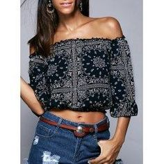#trendsgal.com - #Trendsgal Off The Shoulder Ethic Print Cropped Blouse - AdoreWe.com