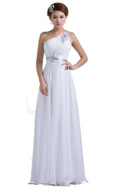 DLFASHION One-shoulder Floor Length Beaded Chiffon Prom Dress at Amazon Women's Clothing store: One Shoulder Floor Length Blue Gown