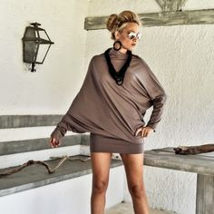 New brown asymmetric blouse- dress...! You can wear it with leggings or jeans, or it can be your party dress !