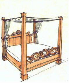 Custom Walnut Bed Sketch - See more at: http://chambersarchitects.com/cutting-horse-ranch-in-parker-county.html#sthash.pat0LhgQ.dpuf or take a look at more custom furniture at: http://chambersarchitects.com/blog/230-design-and-fabrication-of-a-table-and-a-bed-for-the-j-5-ranch-in-weatherford-texas.html