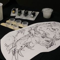 Todo listo #tatuaje #tattoo #tinta #ink #Eternalink #eikon #kwadromneedles #work #cheyenne #dynamic #symbeos #Valencia #Spain #art #pigmentos #dark #negro #color #shadows #sombras #dots #puntillismo #watercolor #acuarela #newschool #quecorralatinta #mononoke