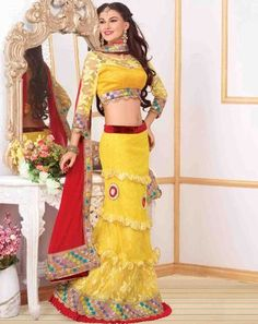 Ethnic Glam Lehenga yellowredholly9504D