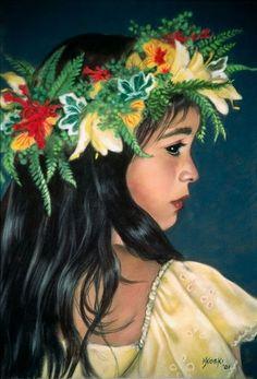 """""""Lei Aloha"""" by Mary Koski (American) Hawaiian Dancers, Hawaiian Art, Hawaiian Tattoo, Polynesian Art, Hula Dancers, Hula Girl, Tropical Art, Tropical Vibes, Vintage Hawaii"""