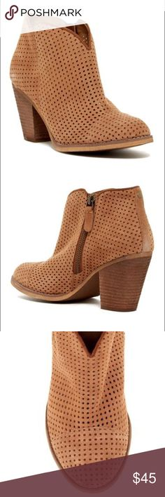 """SUSINA Stevie Perforated Bootie Adorable little Bootie in Cognac perforated suede  - Round toe - Side zip closure - Perforated detail - Stacked heel - Approx. 3.5"""" shaft height, 11"""" opening circumference - Approx. 3"""" heel - Imported Materials Suede upper, manmade sole Susina Shoes Ankle Boots & Booties"""