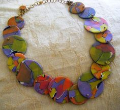 polymer clay disks necklace Caraviv97