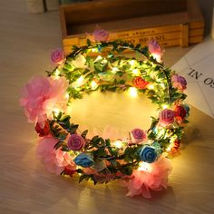 Glow Party Supplies Beautiful 2018 New Colorful Led Blinking Flower Headband Garland Wreath Women Girl Flashing Floral Headbands Halloween Glow Party Supplies Home & Garden
