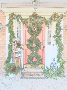The perfect doorstep decorations. I never thought of stacking wreaths! #Lillyholiday