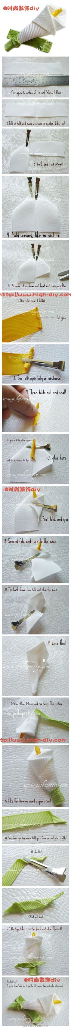 Make a calla lily with ribbon bar, fragrance and elegance is your range of children ~
