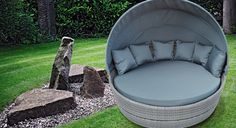 Sandringham - Rotating Daybed -  Dove Grey Flat Weave