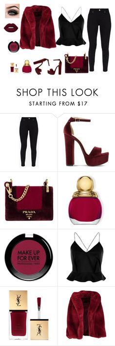 """""""Sin título #185"""" by osirisarambuloh on Polyvore featuring moda, Ted Baker, Steve Madden, Prada, Christian Dior, MAKE UP FOR EVER, River Island, Boohoo y ASAP"""