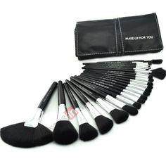 24 PCS Pro Makeup Brush Set Cosmetic Brushes Make up Tool   Black Leather Case US$23.99