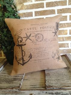 French Nautical Anchor Carte Postale Burlap Pillow by SimplyFrenchMarket on Etsy