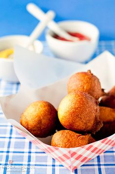 Homemade Hushpuppies- just made these and they were awesome! Light on the inside, crunchy on the outside. Half a recipe made 8.