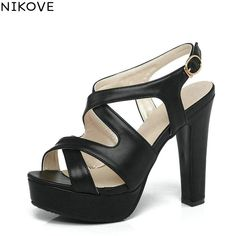 7f0b1937a590 NIKOVE 2017 Summer Women Shoes Soft PU All Match Thick High Heel Woman Pumps  Sexy Peep Toe Gladiator Dating Shoes