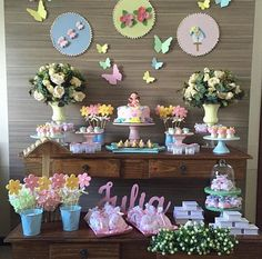 Display and style ideas of Pastel flowers desert  party table for celebrations for girls | baby shower, first birthday, young child's event or a holy communion