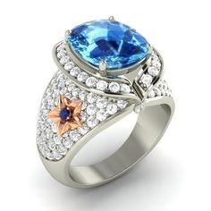 Cushion-Cut Blue Topaz Halo Engagement Ring in 14k White Gold with Sapphire ,SI Diamond