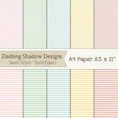 "A4 Digital Scrapbook and Craft Paper Pack - Sweet Stripes in Pastel Colours - 8.5 x 11"" #a4 #scrapbooking #scrapbook #paper #digiscrap #supplies #pages #stripes #pink #green #blue #aqua #yellow"