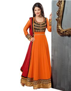Orange Georgette embroidered semi stitiched salwar with dupatta