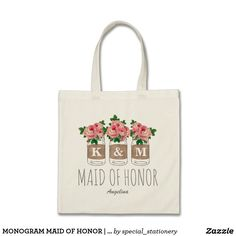 Monogram Wedding Attendant Floral Maid of Honor Tote Bag