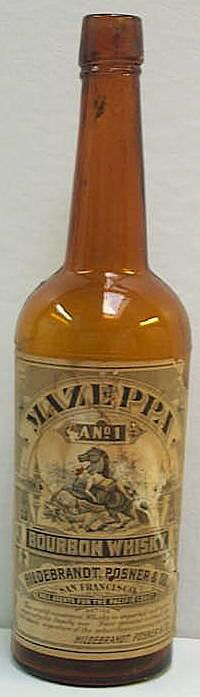 """Mazeppa Bourbon Whiskey"" from the Hildebrandt, Posner & Co. Whiskey Label, Bourbon Whiskey, Whisky, Liquor Bottles, Hot Sauce Bottles, Bottle Labels, Vodka, Rye, Dates"
