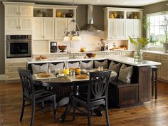 Wonderful Small Kitchen Island With Seating Using Black Colors. This picture is one of many ideas on small kitchen island with seating. Kitchen Table Bench, Kitchen Island Table, Kitchen Islands, Kitchen Cabinets, Kitchen Island With Table Attached, Floors Kitchen, Open Cabinets, White Cabinets, Kitchen Furniture