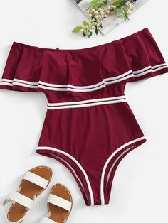 Plus Striped Flounce Bardot One Piece Swim These Will Be the 11 Most Popular Swimsuit Trends of 2019 swimwear ,high waisted bikini trianglbikini shop,best swimsuits Bathing Suits Canada, Summer Bathing Suits, Girls Bathing Suits, Plus Size Bikini Bottoms, Women's Plus Size Swimwear, Funny One Piece Swimsuit, One Piece Swimwear, Cute Swimsuits, Women Swimsuits