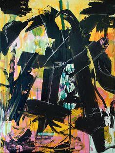 "Mir geht's gut | 2015 | Bitumen, Indian ink and oil paint stick on canvas | 80 x 60 cm | 31.5""x23.6"""