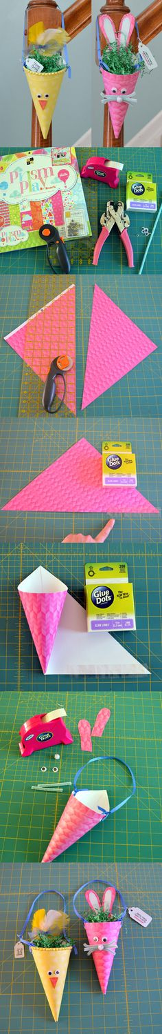 Designer Dawn is on our blog today with cute Easter treat cones! She'll show you how to make an Easter Chick or Bunny for you to hang on doors, stair banisters or wherever the Easter Bunny decides to leave their treats! Get the Glue Dots, we're getting Crafty!
