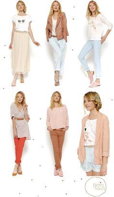 des petits hauts, style, peach skirt, blue pants, red pants