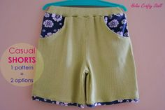 Helen Crafty Stall: Casual Shorts: 1 pattern = 2 options