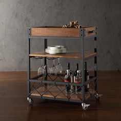 Myra Rustic Mobile Kitchen Bar Serving Cart, Wood and Metal Rolling Serving Cart This Myra Rolling Bar Serving Kitchen Cart has a weathered and timeworn patina Mini Bars, Wine Cart, Gold Bar Cart, Bar Cart Wood, Bar Cart Decor, Diy Bar Cart, Serving Cart, Industrial Furniture, Industrial Bar Cart