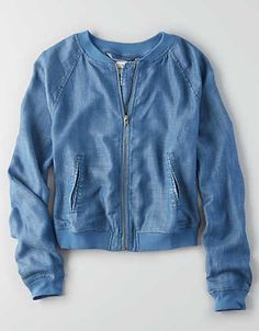 1d9cb3d4 AEO Chambray Bomber Jacket , Indigo   American Eagle Outfitters Bomber  Jacket Outfit, Vintage Bomber