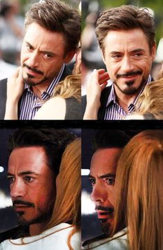 Top: Susan whispers in Robert's ear.   Bottom: Pepper whispers in Tony's ear.