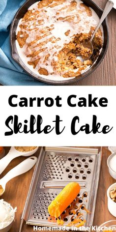 Moist one layer Carrot Cake Skillet Cake with a homemade vanilla glaze makes a quick and easy dessert for when you're short on time but still need to impress! #homemadeinthekitchen #carrotcakeskilletcake #carrotcakerecipes #skilletcake Homemade Cake Recipes, Homemade Vanilla, Best Dessert Recipes, Easy Desserts, Skillet Cake, Vanilla Glaze, Cake Recipes From Scratch, Food Crafts, Cupcake Cakes