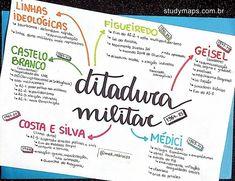 Mapa mental sobre ditadura militar. Lettering Tutorial, Mind Map Design, Mental Map, Study Organization, Study Journal, Bullet Journal School, School Study Tips, Study History, Study Hard