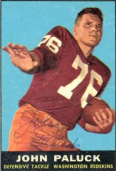 1961 Topps John Paluck Football autographed trading card