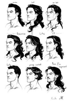 Super Ideas For Drawing Tutorial Face Anime Character Design References Long Hair Drawing, Guy Drawing, Drawing People, Drawing Sketches, Art Drawings, Drawing Faces, Drawing Lips, Drawing Men Face, Hair Styles Drawing