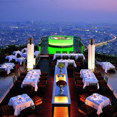 SIROCCO Sky Bar & Restaurant • State Tower, Bangkok, THAILAND • International Cuisine • The views and atmosphere are amazing! Great live music. Definitely a great night out in Bangkok. • 66 2 6249555 • www.lebua.com/sky-bar