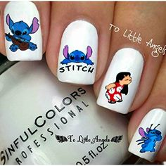 Lilo & Stitch - Nail Art Decal - One pack of nail art water decals sticker. Included : Instruction on how to use. One sheet water decals sticker contain 20 designs. If you interested in more than one item create a bundle and get a special offer. Disney Nail Designs, Cute Nail Designs, Acrylic Nail Designs, Stylish Nails, Trendy Nails, Cute Nails, Disney Acrylic Nails, Best Acrylic Nails, Jolie Nail Art