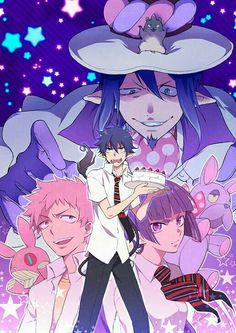 Rin, Shima, Izumo, Mephisto, Amaimon, hamster form, dog form, funny, cake; Blue Exorcist