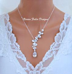 Wedding Necklace Orchid CZ Pearl Jewelry Tear Drop vivianfeilerdesigns.com