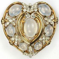Trifari 'Alfred Philippe' Moonstone Cabochon Heart Pin Clip, 1941