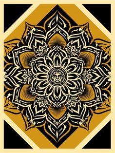 obey : Lotus Diamond (Gold) 18 x 24″ Screen print, Signed and Numbered edition of 200. $45. Limit 1 per person / household.