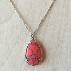 Coral Stone Silver Necklace Brand New! Chain is 18 inches with 2 inch extender. Coral Charm is 1.25 inches.  Same day or next day shipping. No trades and no holds. 20% off of bundles. Jewelry Necklaces