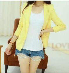 Fashion Slim Blazer Women Candy Colored Women Blazer None Button Lapel Long Sleeve Suit Blazer Woman WL2023
