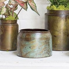 Get rustic wedding containers for your event or home decor like this adorable metal flower pot in mottled green and brown with rust tones from the Lush Collection. Fill this unique vase with faux flow