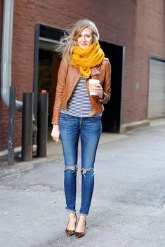 Blue denim jeans + leather jacket + striped shirt + yellow infinity scarf + heels